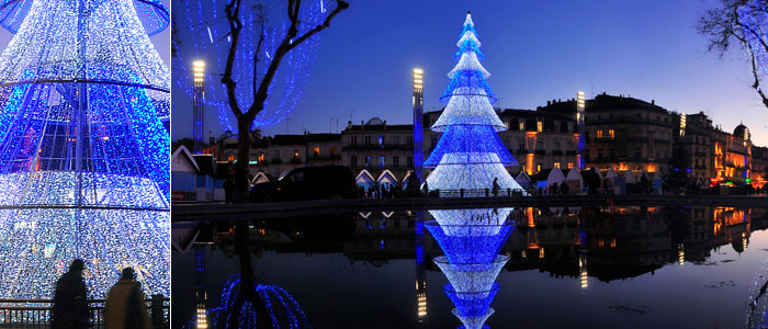 Leblanc Illuminations lights-up the city of Montpellier with a non-standard illuminated fir tree: 20m high.